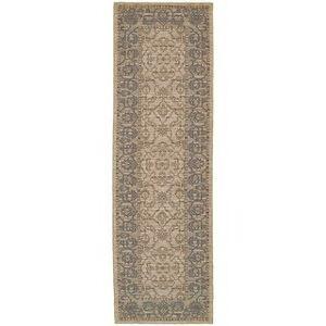 "Tommy Bahama Vintage Traditonal Wool Area Rug (Cream/Blue 2'7"" x 9'4"" Runner)"