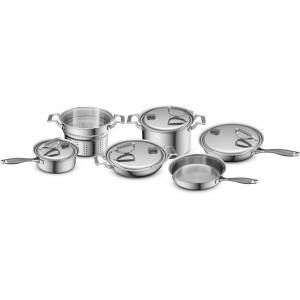 Overstock CookCraft Original 10-Piece Tri-Ply Stainless Steel Cookware Set (10 Piece)