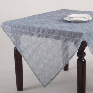 """Saro Lifestyle Stitched Sheer Design Topper or Tablecloth (All Seasons - Blue Grey - 60""""x 60"""" - Toppers)"""