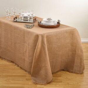"Saro Lifestyle Fringed Burlap Design Tablecloths. (Natural - 90""x 132"")"