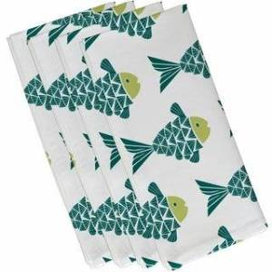 E by Design Fish Tales Animal Print 19-inch Napkin (Teal)