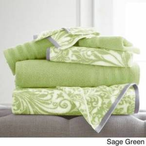 Amrapur Overseas 6-Piece Yarn Dyed Filigree Towel Set (Green)