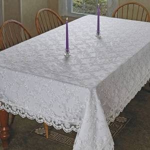 Violet Linen Royal Lace Embroidered Tablecloth - White or Cream in several sizes (White - 70x160)