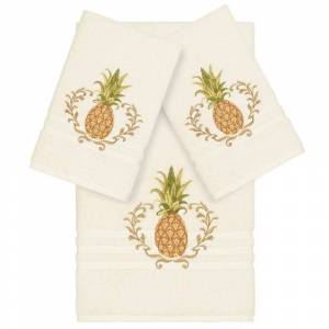 Overstock Authentic Hotel and Spa Turkish Cotton Pineapple Embroidered Cream 3-piece Towel Set (Cream)