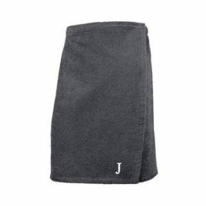 Authentic Hotel and Spa Authentic Turkish Cotton Terry Grey Monogrammed Spa and Shower Towel Wrap (Mens - Grey - J)