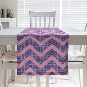 ArtVerse Three Color Hand Drawn Chevrons Table Runner (16 x 90 - Cotton Blend - Pink & Blue)