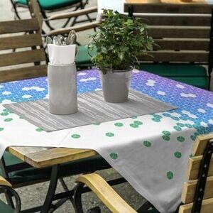 ArtVerse Tumbling Cube Pattern Square Tablecloth (Peacock Ombre)