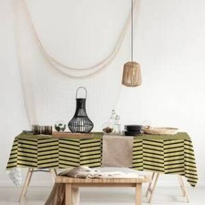 ArtVerse Black & Color Fractured Stripes Rectangle Tablecloth - 58 x 102 (Yellow)