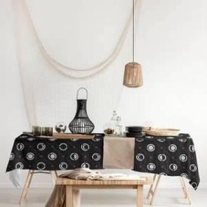 ArtVerse Black Color Accent Moon Phases Rectangle Tablecloth - 58 x 102 (Red Accent)