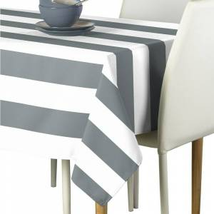 """Overstock Polyester Gray & White Cabana Stripe Signature Tablecloth 54"""" x 54"""""""