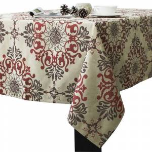 """Overstock Polyester Holiday Elegant Jacquard Fabric Tablecloth 52"""" x 52"""" Red (Single)"""