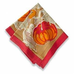 Couleur Nature Harvest Pumpkin Square Cotton Napkin (Set of 6) (Red)
