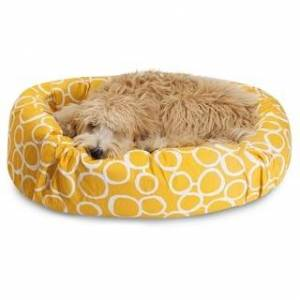 Majestic Pet Product Fusion Sherpa Bagel Dog Bed by Majestic Pet (Large - Yellow)