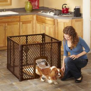 North States Petyard Passage Brown 4-panel Pet Gate (Brown)