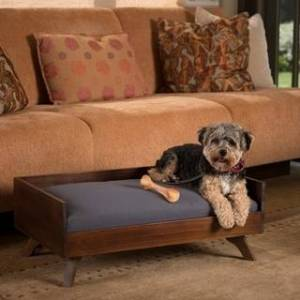 Christopher Knight Home Doran Mid Century Rectangle Acacia Wood Dog Bed by Christopher Knight Home (Dark Oak+ Grey)
