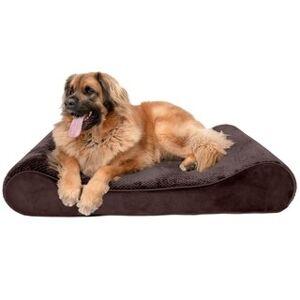 FurHaven Pet Bed   Minky Plush & Velvet Luxe Lounger Orthopedic Dog Bed (Jumbo Plus - Espresso)