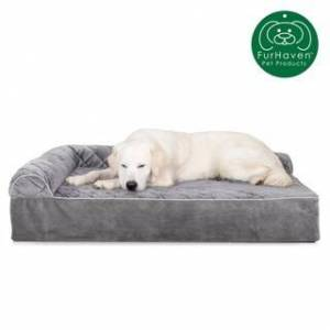 FurHaven Pet Bed   Quilted Faux Fur & Velvet Goliath Deluxe L-Chaise Lounge Dog Bed (2XL - Gray)