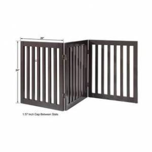 "Overstock Unipaws Freestanding Pet Gate Wooden Dog Gate 2PCS Support Feet (20""wx24""h, 3panels)"
