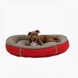 "Carolina Pet Company Carolina Pet Faux Suede Round Memory Foam Comfy Cup (Red - Large - Large (42""x36""x6""))"