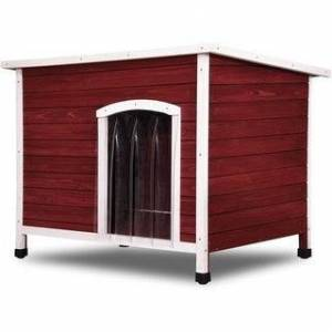 Newacme Lovupet Wooden Dog House Outdoor Indoor Pet Shelter Pet House Home Extreme Weather-Resistant Log Cabin with Adjustable Feet 0657 (Red)
