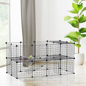 Aosom PawHut 36 Panel Pet Playpen Small Animal Cage Metal Wire Indoor Outdoor Portable - Black (Black)