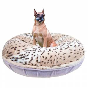 """Bessie and Barnie Signature Lilac / Aspen Snow Leopard Luxury Extra Plush Faux Fur Bagel Pet / Dog Bed (SM - 30"""")"""