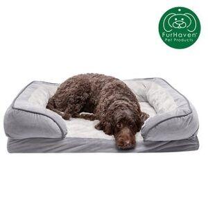 FurHaven Velvet Waves Perfect Comfort Cooling Gel Sofa Dog Bed (Large - Granite Gray)