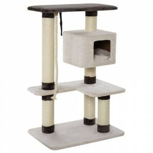 """Overstock PawHut 47.75"""" Luxury Plush Cat Tree Activity Tower with Sisal Scratching Posts, Elevated Perches & a Roomy Condo (Cream White)"""