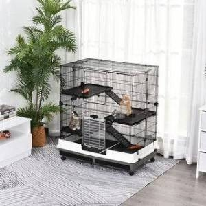 Aosom PawHut 4-tier Platform Rolling Small Animal Rabbit Cage for Hamsters, Chinchillas, & Gerbils with a Large Living Space - Black (Black)