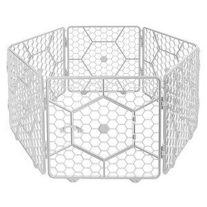 Alpha 8-Panel Plastic Customizable Pet Playpen Exercise Fence Cage (Light Grey)