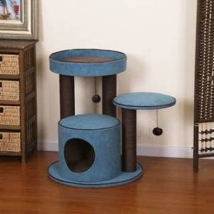 Petpals-Meadows Cat Tree with Spacious Perches, Green (Blue)
