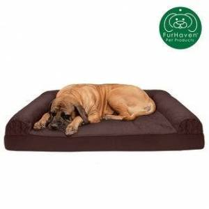 FurHaven Pet Bed   Quilted Cooling Gel Top Sofa Dog Bed (Jumbo Plus - Coffee)
