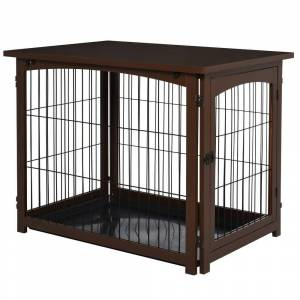 Overstock PawHut Wooden Decorative Dog Cage Pet Crate Fence Side Table Small Animal House with Tabletop, Lockable Door, Brown (Brown)