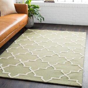 Surya Carpet Hand-Tufted Jennifer Moroccan Tiled Wool Rug (Sage - 5' x 8')