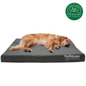 FurHaven Oxford Indoor/Outdoor Deluxe Dog Bed (Memory Foam - Stone Gray - Jumbo)