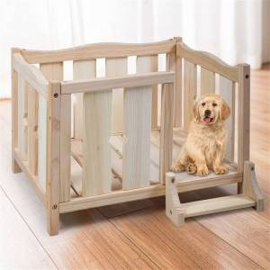 Overstock Wooden Dog Pet Bed for Small Dogs Cats Room Shelter with Guardrail - Medium (Natural - Medium)