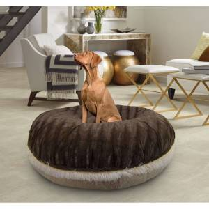 "Bessie and Barnie Signature Godiva Brown/ Blondie Luxury Shag Extra Plush Faux Fur Bagel Pet / Dog Bed (MD - 36"")"