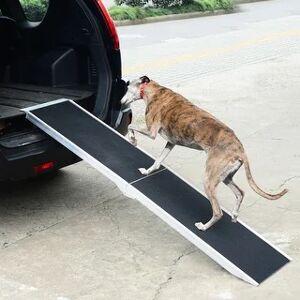 Aosom PawHut Folding Dog Ramp Lightweight Aluminium Alloy Frame Anti-slip Surface Portable with Carry Handle - 6 Feet (6 Feet)