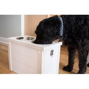 New Age Pet ECOFLEX® Piedmont 2-Bowl Diner with Sliding Lid Storage Bin (Antique White)