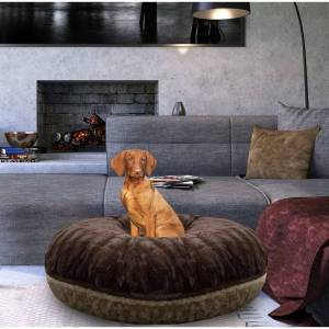 """Bessie and Barnie Signature Godiva Brown/ Camel Rose Luxury Extra Plush Faux Fur Bagel Pet / Dog Bed (XS - 24"""")"""