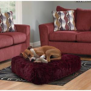 "Bessie and Barnie Rosewood Ultra Plush Faux Fur Luxury Shag Durable Sicilian Rectangle Pet/Dog Bed (SM - 28"" x 24"")"