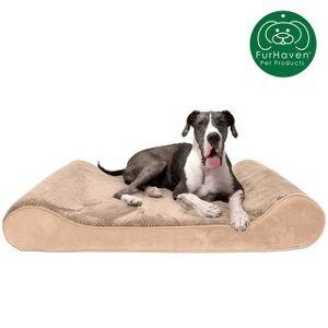 FurHaven Pet Bed   Minky Plush & Velvet Luxe Lounger Orthopedic Dog Bed (Giant - Camel)