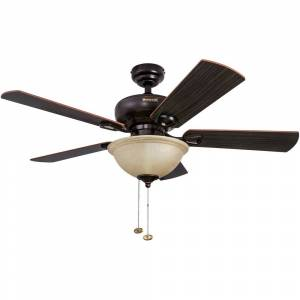 "Honeywell 44"" Honeywell Woodcrest Oil Rubbed Bronze Ceiling Fan with Bowl Light (Bronze - Hardwired)"