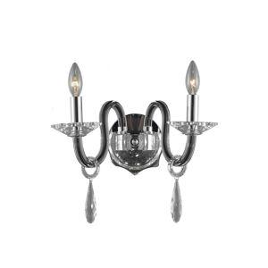 Overstock Fleur Illumination 2 light Black Wall Sconce (Black/swarovski elements crystals)