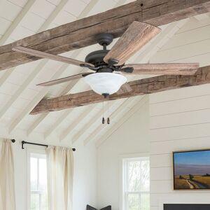 "Overstock Prominence Home Boulder Ridge Farmhouse 52"" Aged Bronze LED Ceiling Fan, Bowl Light, Barnwood Blades (Bronze - Hardwired)"