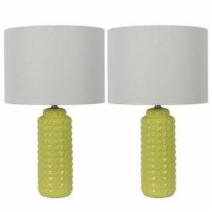 """Jhunt and Co Pair of 24"""" Felix LED Table Lamps (Canary Yellow)"""