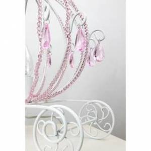 """Overstock 17.75"""" Glossy White Pink Carriage Accent Lamp"""