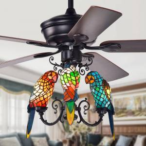 Warehouse of Tiffany Korubo 52-inch Lighted Ceiling Fan with Tiffany-style Parrot Shades (Black/Brown - Remote)