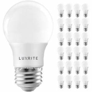 Overstock Luxrite A15 LED Light Bulb, 40W Equivalent, Dimmable, 600 Lumens, Enclosed Fixture Rated, Energy Star, E26(24 Pack) (2700K (Warm White))