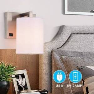 c cattleya 1-light Nickel Wall Sconce with USB Ports Bed light (White)